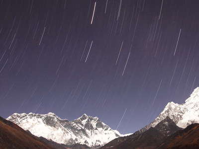 Khumbu Himal with moving stars