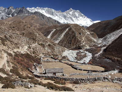 Imja Khola Valley and Lhotse