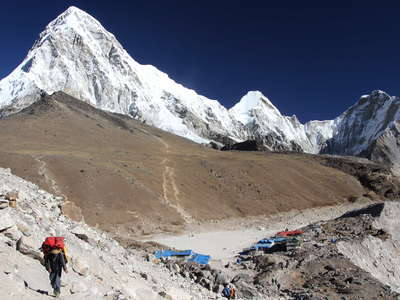 Khumbu Himal  | Gorak Shep with Kala Patthar and Pumori