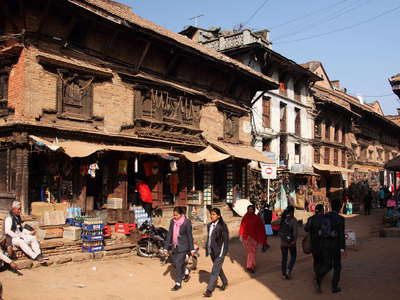 Bhaktapur  |  Main road with ancient building
