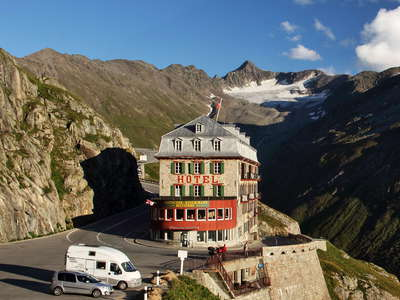 Gletsch  |  Road to Furkapass and Hotel Belvedere