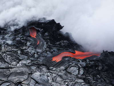 Kalapana  |  Lava entering the sea