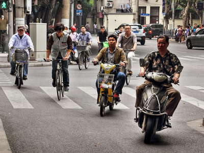 Shanghai  |  Motorbike and bicycle traffic