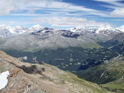 Valfurva panorama with Ortler Mountains