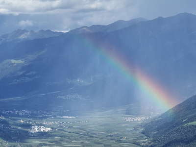 Vinschgau Valley with rainbow