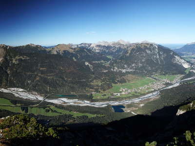 Lechtal Valley panorama with braided river
