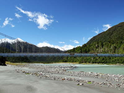 Karangarua River with suspension bridge