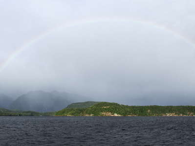 Lake Manapouri  |  Panorama with rainbow