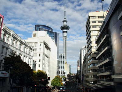 Auckland  |  Victoria Street with Sky Tower