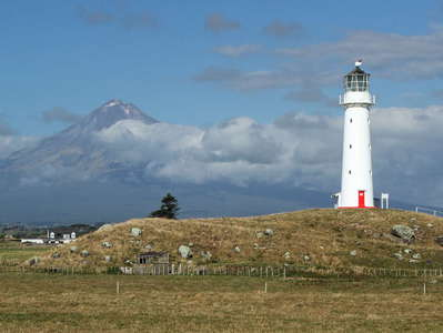 Cape Egmont Lighthouse and Mt. Taranaki