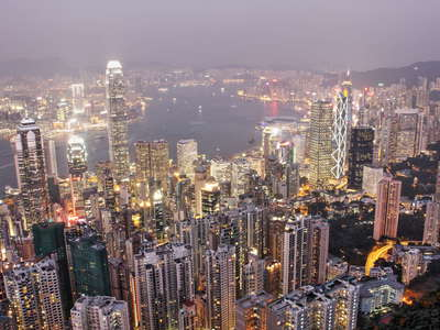 Hong Kong  |  Hong Kong Island and Kowloon at night