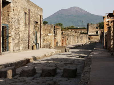Pompeii with pedestrian crossing and Vesuvio