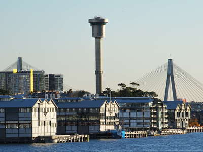 Sydney  |  Walsh Bay Wharf and ANZAC Bridge