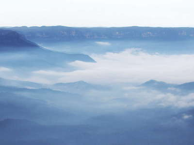 Katoomba  |  Blue mist over Jamison Valley