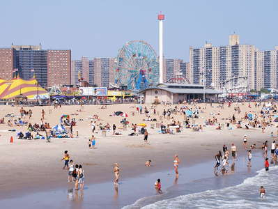 Coney Island with beach and amusement park