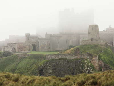 Bamburgh Castle in the fog