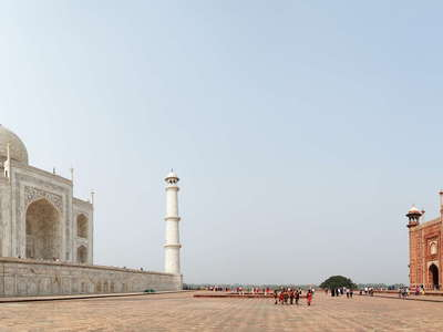 Agra  |  Panorama of Taj Mahal with Guest House