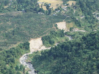 Shiv Khola Valley with river bank collapses