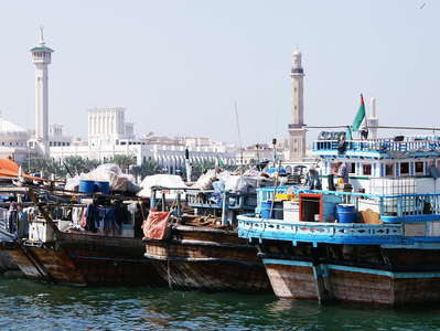 Dubai Creek with boats