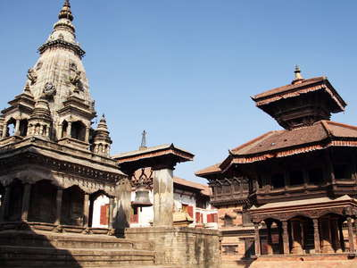 Bhaktapur Durbar Square with temples