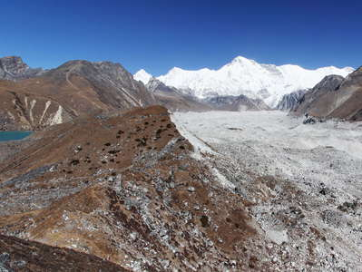 Gokyo Valley with Ngozumba Glacier and Cho Oyu