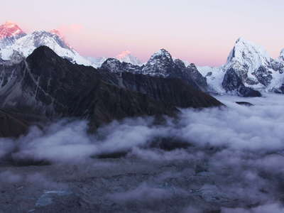 Gokyo  |  Ngozumba Glacier and Mt. Everest at sunset