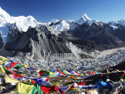 Kala Patthar  |  Prayer flags and Khumbu Glacier
